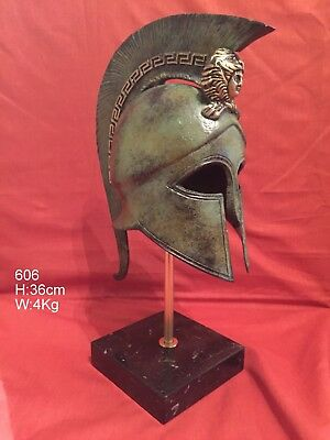 Ancient Greek Spartan Bronze Helmet Museum Replica Real Size On Marble Base