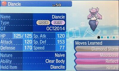 Non Shiny 6IV HP Fire Naive* OCT2014 Event Diancie Ultra/Sun/Moon + Diancite
