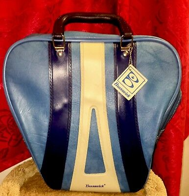 Vintage Brunswick Two Tone Blue & White Bowling Ball Bag w/ Plastic Rack