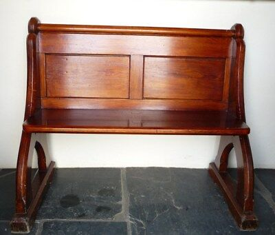 Victorian Small Pitch Pine Church Pew C1880- Very Sturdy and in Good Condition