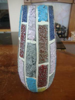 Good Vintage Italian Pottery Mosaic Hand Painted Vase.