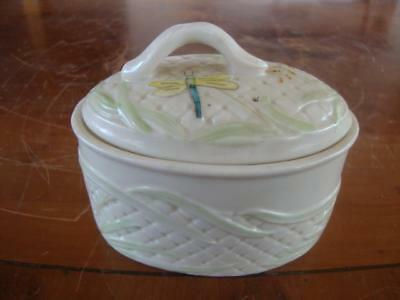 Fine Vintage Belleek Porcelain Firefly Lidded Trinket Box.