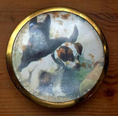 1930/1940's Compact with a Scottie Dog and a Little Friend on the Lid.
