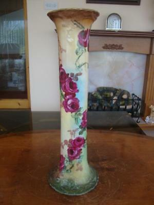 Fine Very Large English Porcelain Royal Worcester Hand Painted Roses Vase.