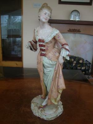 STUNNING LARGE 19th CENTURY DRESDEN / VOLKSTEDT PORCELAIN HAND PAINTED FIGURINE.