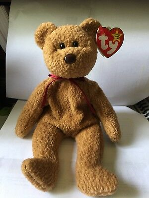 TY Beanie Baby - RETIRED Curly Bear Rare w/errors in Excellent Condition