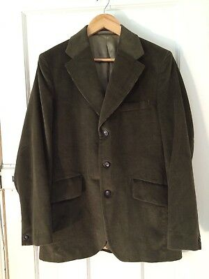 "VINTAGE TAILORED Shannon CORD CORDUROY BLAZER JACKET Green 42"" 1960S"