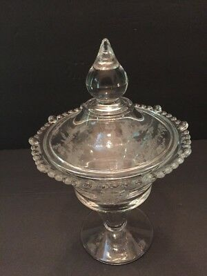 Paden City Vermillion Candy Dish Floral Etched Compote & Lid Tear Drop Rim VTG