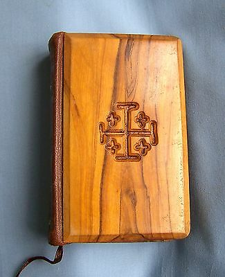Vintage Olive Wood Bound New Testament Bible - Jeruslem.