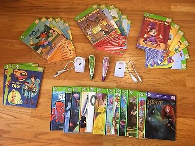 Lot of 2 Green&Purple LeapFrog Tag Book Reader Stylus Pens & 35 Books