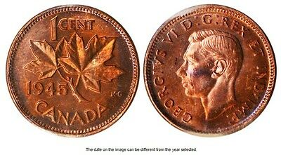 1945 Canadian One (1) Cent Coin  circulated  ungraded