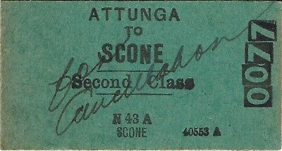 Railway ticket a trip from Attunga to Scone by the old NSWGR