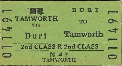 Railway ticket a trip from Duri to Tamworth by the old NSWGR
