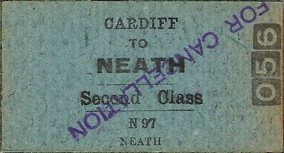 Railway ticket a trip from Cardiff to Neath by the old NSWGR and the SMR