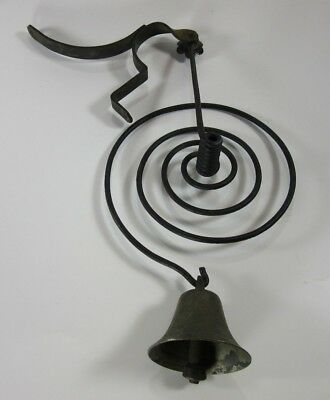 Antique Primitive Country Store Shopkeepers Door Bronze Brass Bell on Iron Coil