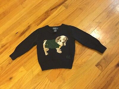 Boys Polo Ralph Lauren sweater size 2T blue with puppy long sleeve