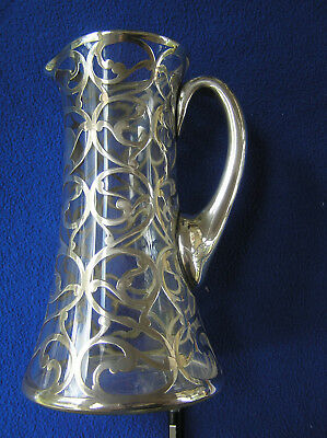 Heavy sterling silver overlay pitcher 9""