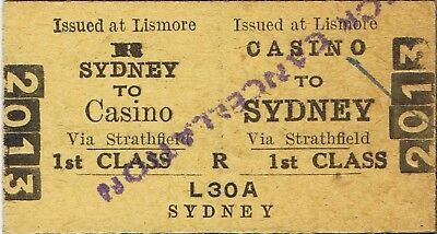 Railway ticket a trip from Casino to Sydney by the NSWGR in 1958 from Lismore