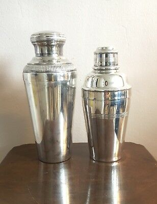 2 X Antique Silver Pelted Cocktail Shakers