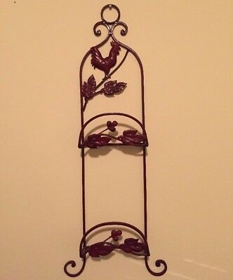 Rooster Display Plate Rack Metal Holder Cranberry Red Decorative
