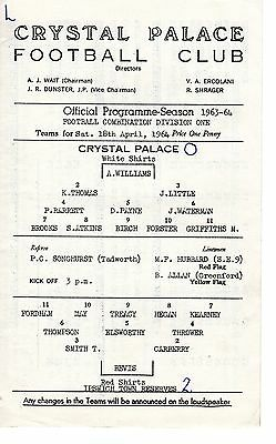 Crystal Palace v Ipswich Town Reserves Programme 18.4.1964