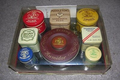 Vintage c.1940 John Middleton Tobacco Kit 7 Tins/Humidor Unused w/ Box