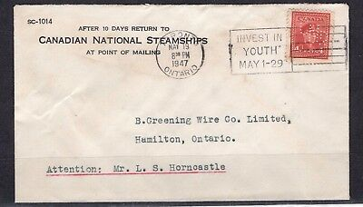 CANADA ADV/SLO CANADIAN NATIONAL STEAMSHIPS  with CNR PERFIN 'TORONTO MAY19 1947