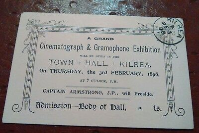 Cinematograph Gramaphone exhibition TICKET Kilrea Captain Armstrong JP Antrim​