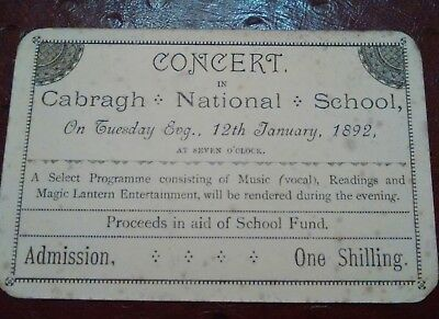 Cabragh National School 1892 magic lantern show TICKET Antrim Ireland
