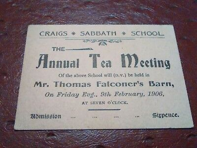 Craig's Sabbath school Thomas Falconers barn 1906 Antrim Ireland TICKET
