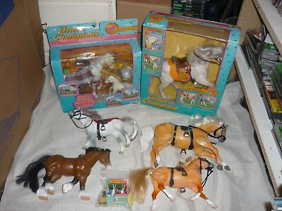 HUGE Playtoy Grand Champions Horse & Accessory Lot Feed N Nuzzle White Arabian++
