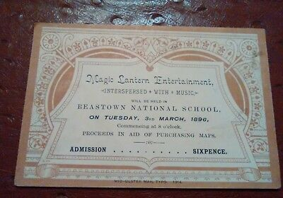 Magic lantern Reastown National School Antrim Ireland TICKET in aid of maps