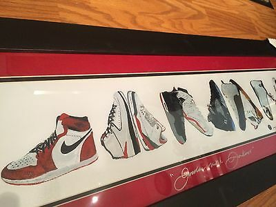 "RARE Michael Jordan Shoes Painting Spelling ""JORDAN"" Framed Matted. Collectors"