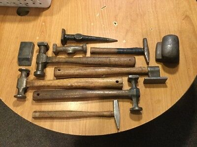 10 Vintage Auto Body Hammers And Dolly's  Metal Working Tools