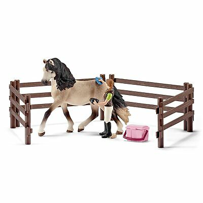 Schleich Andalusian Horse Care Set with horse, rider,  fencing and grooming gear