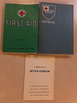 2 Vtg American Red Cross Bks: Home Nursing & First Aid W/ Artificial Respiration