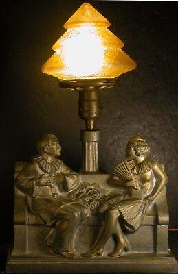 Vintage Deco Figural Theatrical Masked Actor Lamp Commedia dell'arte Brain Shade