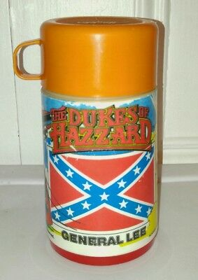 Vintage 1980 The Dukes of Hazzard General Lee Thermos by Aladdin Orange Lid