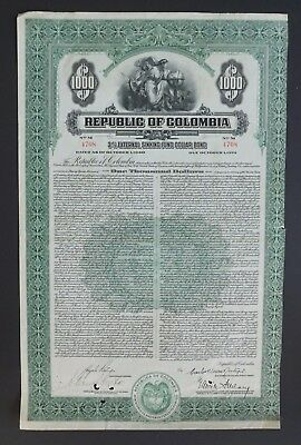 Colombia - Republic of Colombia - 3,5% bond for 1000 dollars 1940