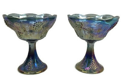 Vintage Grape Carnival Glass Pedestal Candy Dish Bowl Lot of 2 Blue Purple