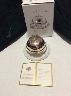 Shannon Crystal Clear Faceted & Metal Reception Desk Counter Service Bell NIB