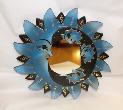 Beautiful Gift Hand Carved Painted Sun Moon Wooden Wall Mirror Decor Blue Black
