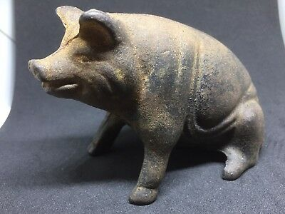 1900's vintage cast iron Sitting  pig bank Rare Early