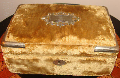 Antique Victorian Velvet Sewing Box Kit w Carved Tools  1900-1909
