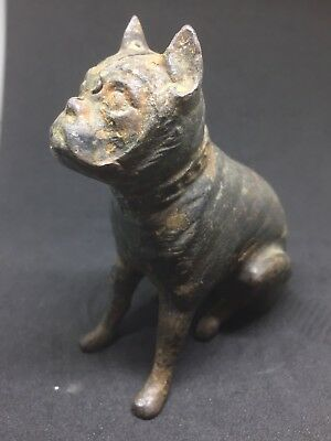1900's vintage cast iron Sitting Pit Bull Bank Rare Early