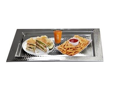 "Hammered Tray 18"" x 11 3/4"" Stainless Steel Rectangular, Eastern Tabletop 5493"