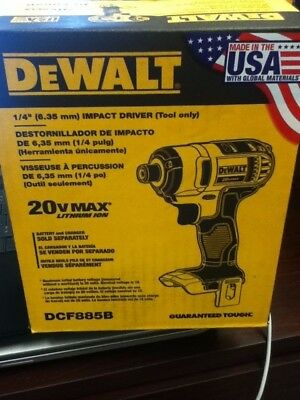 "NEW IN BOX, DEWALT 1/4"" (6.35mm) IMPACT DRIVER (Tool only)  DCF885B"