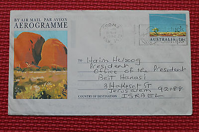 AEROGRAMME from AUSTRALIA to the president of Israel Chaim Herzog , 1992