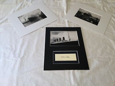 """Millvina Dean Titanic hand signed card matted to fit 8""""x10"""" + 2 Unsigned pics"""