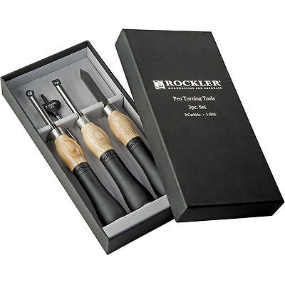 NEW Rockler Wood Working Pen Turning Carbide Tools Set 3 pc.